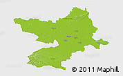 Physical 3D Map of Osijek-Baranja, single color outside