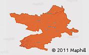 Political 3D Map of Osijek-Baranja, cropped outside