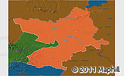 Political 3D Map of Osijek-Baranja, darken