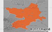 Political 3D Map of Osijek-Baranja, desaturated