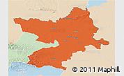 Political 3D Map of Osijek-Baranja, lighten