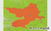 Political 3D Map of Osijek-Baranja, physical outside