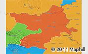 Political 3D Map of Osijek-Baranja