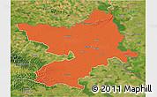 Political 3D Map of Osijek-Baranja, satellite outside