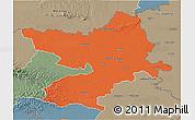 Political 3D Map of Osijek-Baranja, semi-desaturated