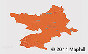 Political 3D Map of Osijek-Baranja, single color outside