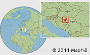 Savanna Style Location Map of Osijek-Baranja