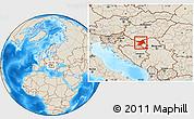 Shaded Relief Location Map of Osijek-Baranja