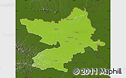 Physical Map of Osijek-Baranja, darken