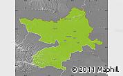 Physical Map of Osijek-Baranja, desaturated