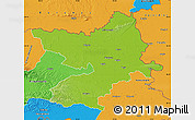 Physical Map of Osijek-Baranja, political outside