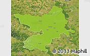 Physical Map of Osijek-Baranja, satellite outside
