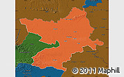 Political Map of Osijek-Baranja, darken