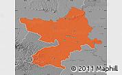 Political Map of Osijek-Baranja, desaturated
