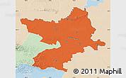 Political Map of Osijek-Baranja, lighten