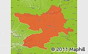 Political Map of Osijek-Baranja, physical outside