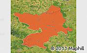 Political Map of Osijek-Baranja, satellite outside