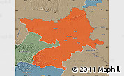 Political Map of Osijek-Baranja, semi-desaturated