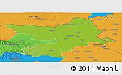 Physical Panoramic Map of Osijek-Baranja, political outside