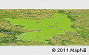 Physical Panoramic Map of Osijek-Baranja, satellite outside
