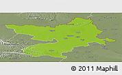 Physical Panoramic Map of Osijek-Baranja, semi-desaturated
