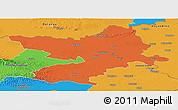 Political Panoramic Map of Osijek-Baranja