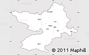 Silver Style Simple Map of Osijek-Baranja, cropped outside
