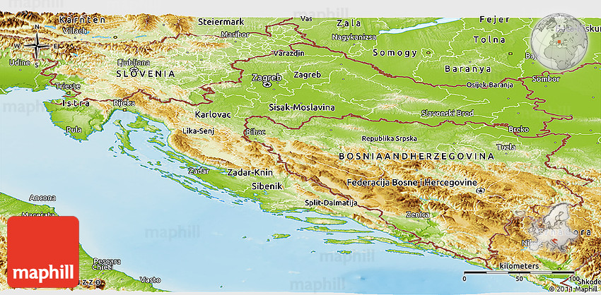 Physical Panoramic Map of Croatia