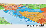 Political Shades Panoramic Map of Croatia