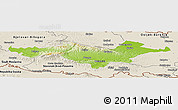Physical Panoramic Map of Pozega-Slavonija, shaded relief outside