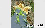 Physical 3D Map of Primorje-Gorski Kotar, darken