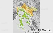 Physical 3D Map of Primorje-Gorski Kotar, desaturated