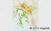 Physical 3D Map of Primorje-Gorski Kotar, lighten