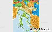 Physical 3D Map of Primorje-Gorski Kotar, political outside