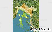Physical 3D Map of Primorje-Gorski Kotar, satellite outside