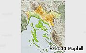 Physical 3D Map of Primorje-Gorski Kotar, semi-desaturated