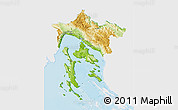 Physical 3D Map of Primorje-Gorski Kotar, single color outside