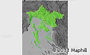 Political 3D Map of Primorje-Gorski Kotar, darken, desaturated