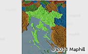 Political 3D Map of Primorje-Gorski Kotar, darken