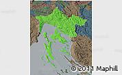 Political 3D Map of Primorje-Gorski Kotar, darken, semi-desaturated