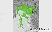 Political 3D Map of Primorje-Gorski Kotar, desaturated