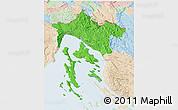 Political 3D Map of Primorje-Gorski Kotar, lighten