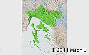 Political 3D Map of Primorje-Gorski Kotar, lighten, semi-desaturated