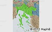 Political 3D Map of Primorje-Gorski Kotar, semi-desaturated