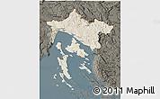 Shaded Relief 3D Map of Primorje-Gorski Kotar, darken