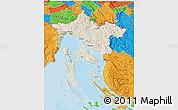 Shaded Relief 3D Map of Primorje-Gorski Kotar, political outside