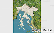 Shaded Relief 3D Map of Primorje-Gorski Kotar, satellite outside