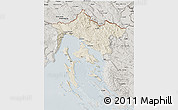 Shaded Relief 3D Map of Primorje-Gorski Kotar, semi-desaturated