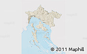 Shaded Relief 3D Map of Primorje-Gorski Kotar, single color outside