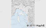 Silver Style 3D Map of Primorje-Gorski Kotar
